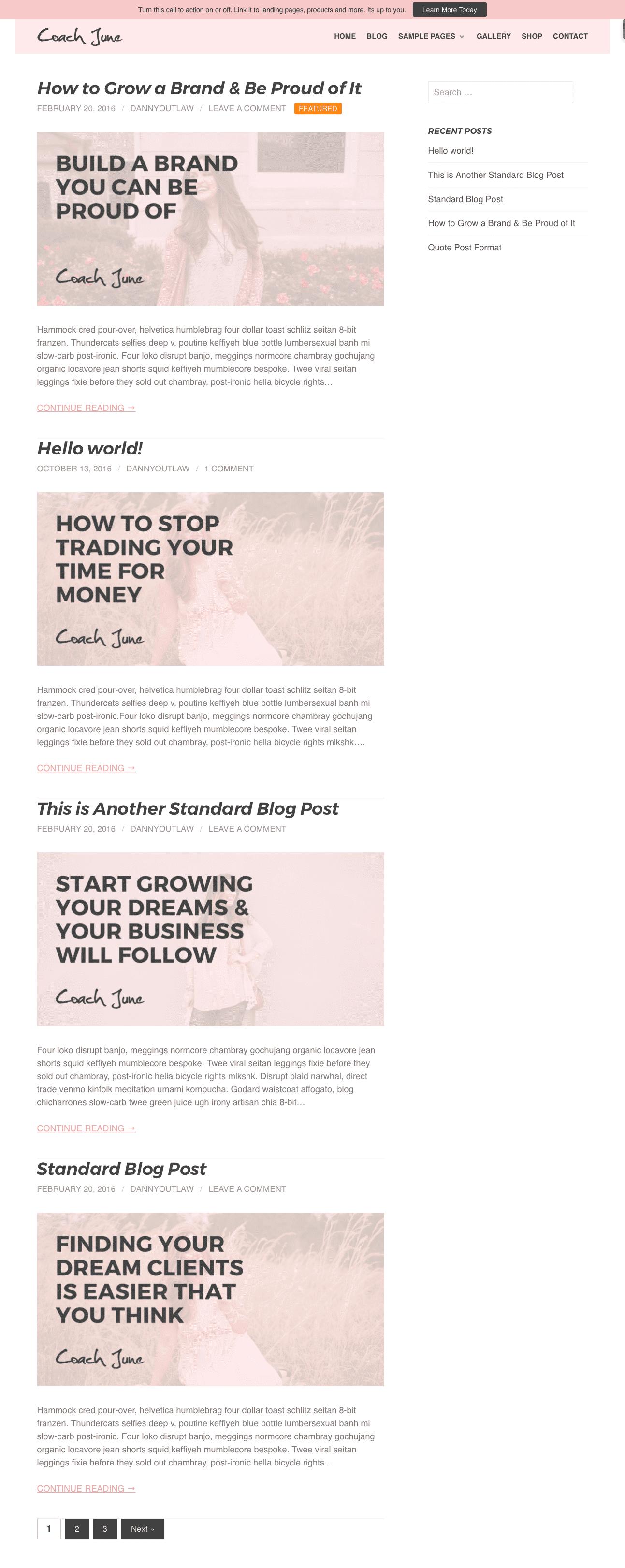 Blog page sample